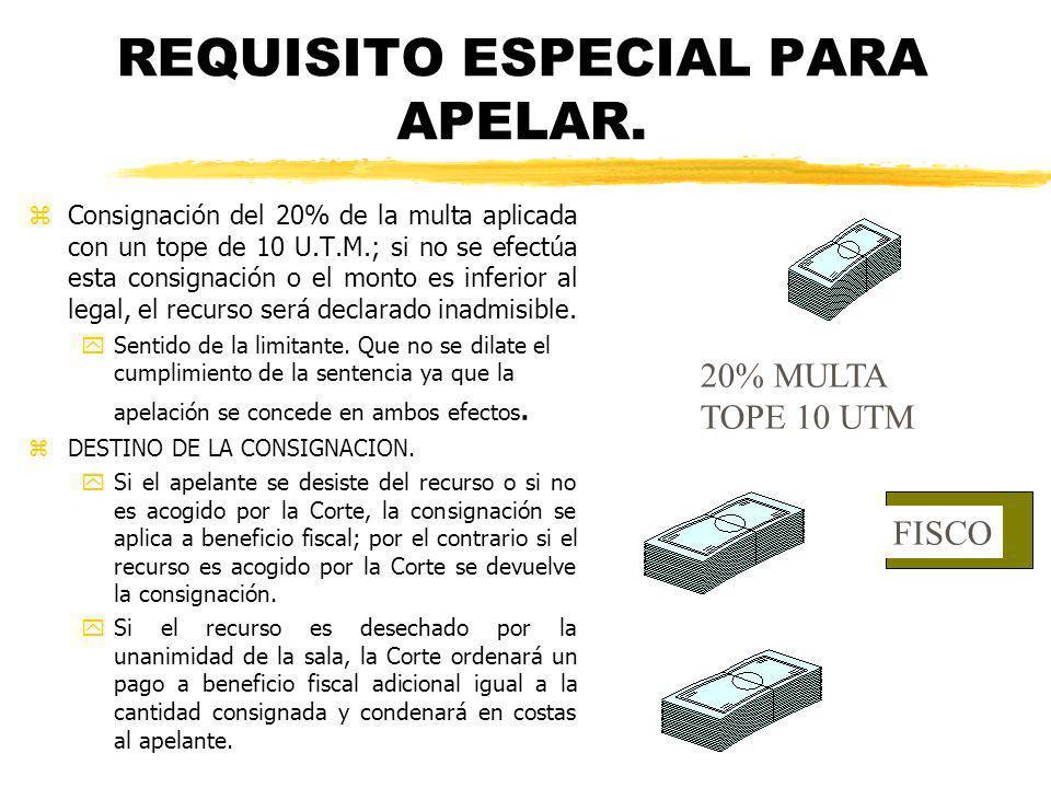 REQUISITO ESPECIAL PARA APELAR.