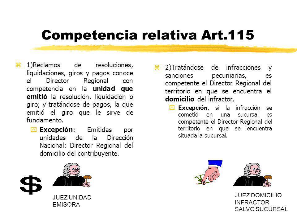 Competencia relativa Art.115