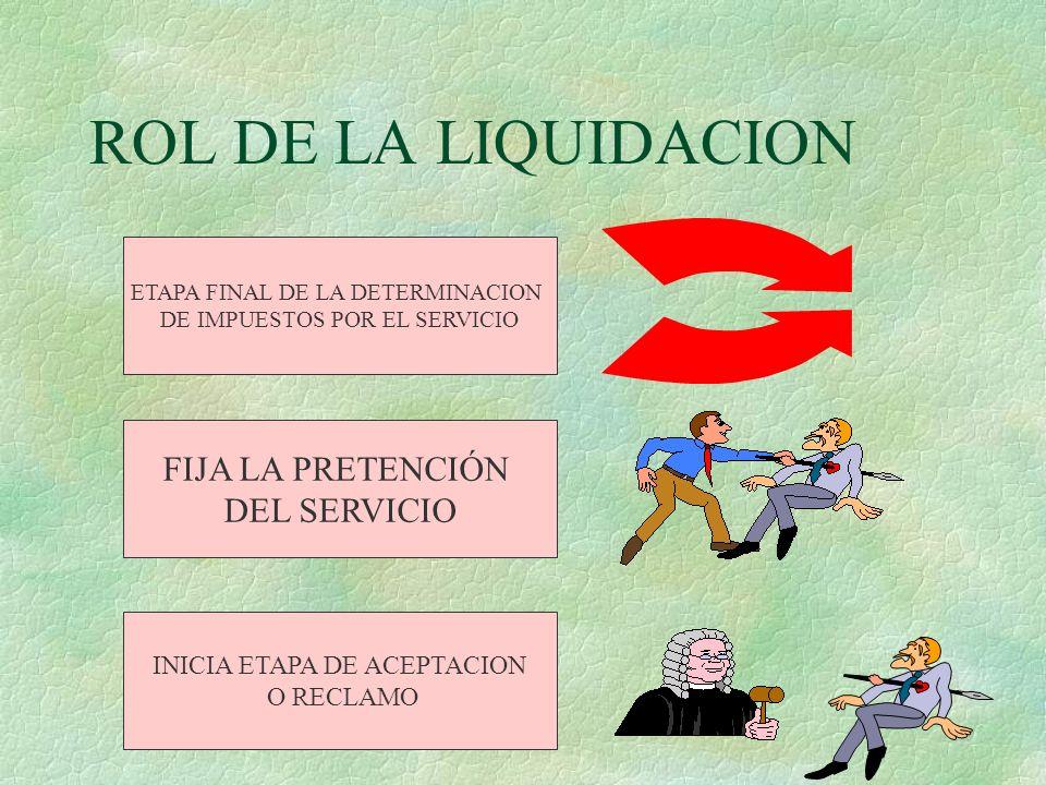 ROL DE LA LIQUIDACION FIJA LA PRETENCIÓN DEL SERVICIO