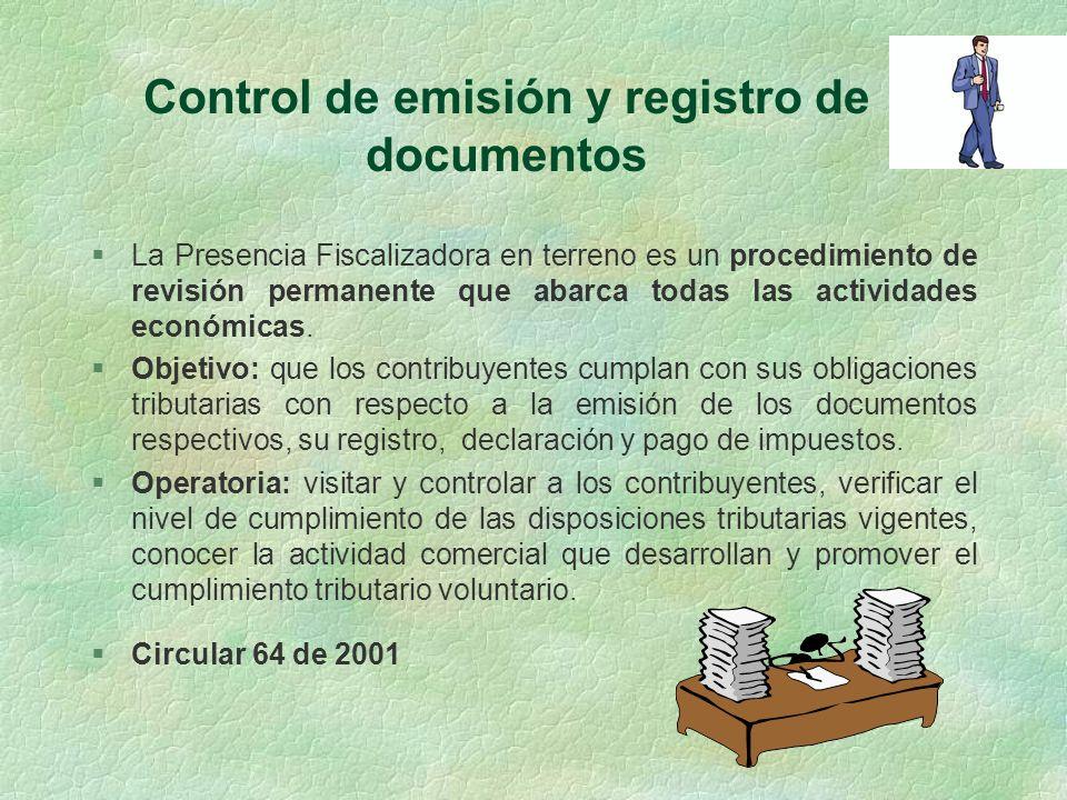 Control de emisión y registro de documentos
