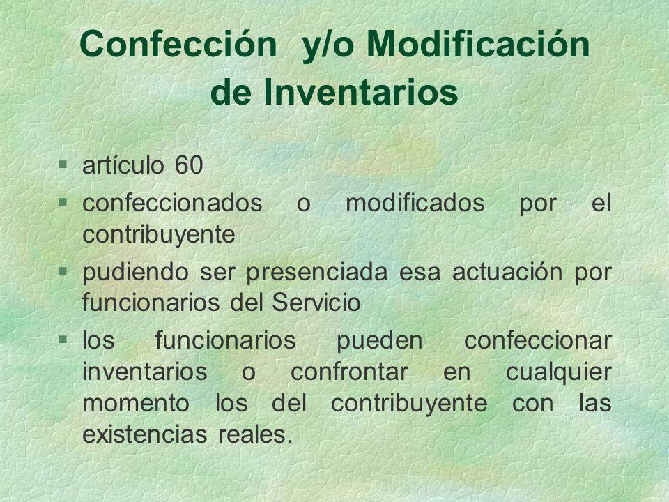 Confección y/o Modificación de Inventarios