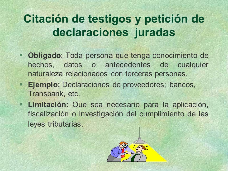 Citación de testigos y petición de declaraciones juradas