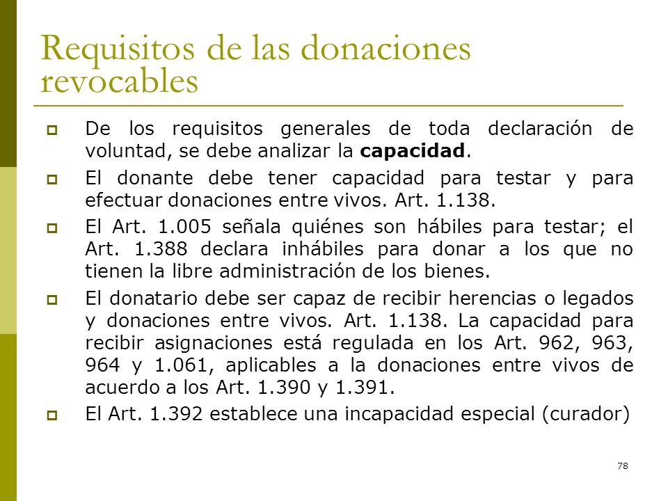 Requisitos de las donaciones revocables
