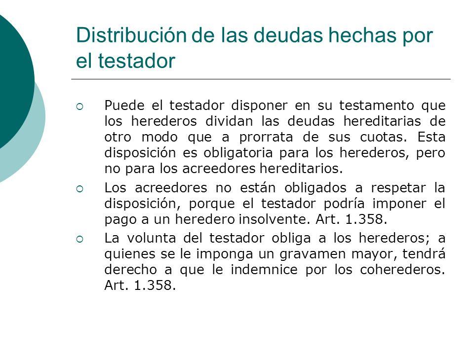 Distribución de las deudas hechas por el testador
