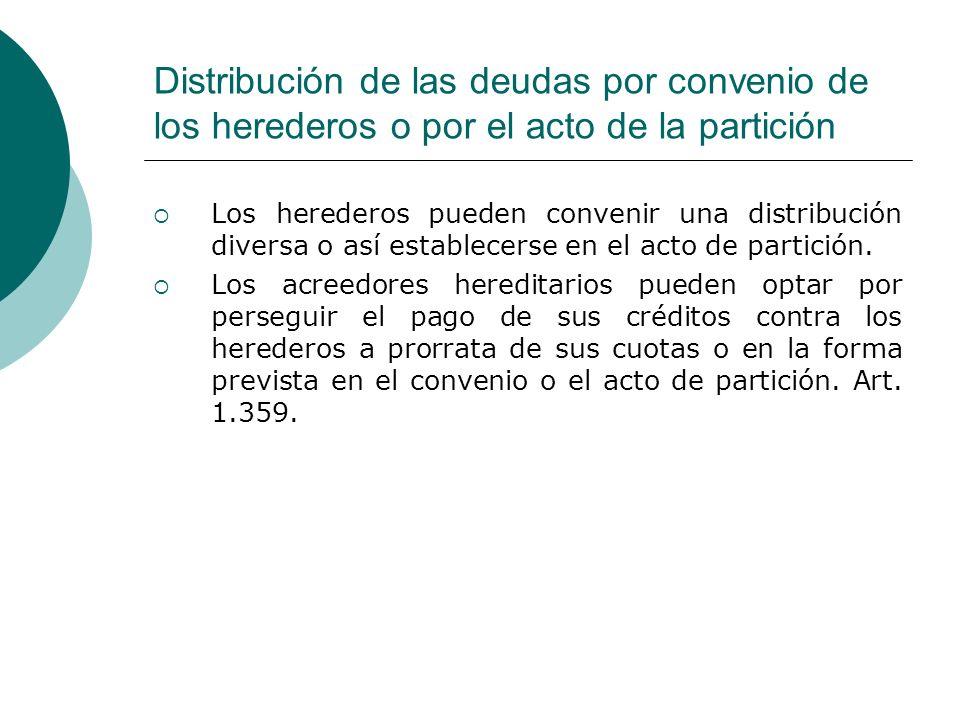 Distribución de las deudas por convenio de los herederos o por el acto de la partición