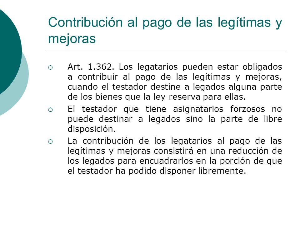 Contribución al pago de las legítimas y mejoras