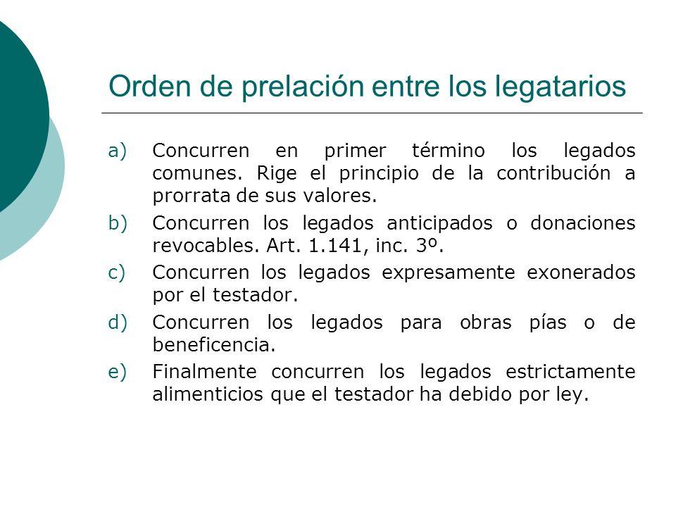 Orden de prelación entre los legatarios
