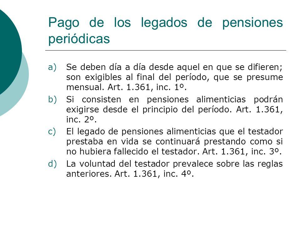 Pago de los legados de pensiones periódicas
