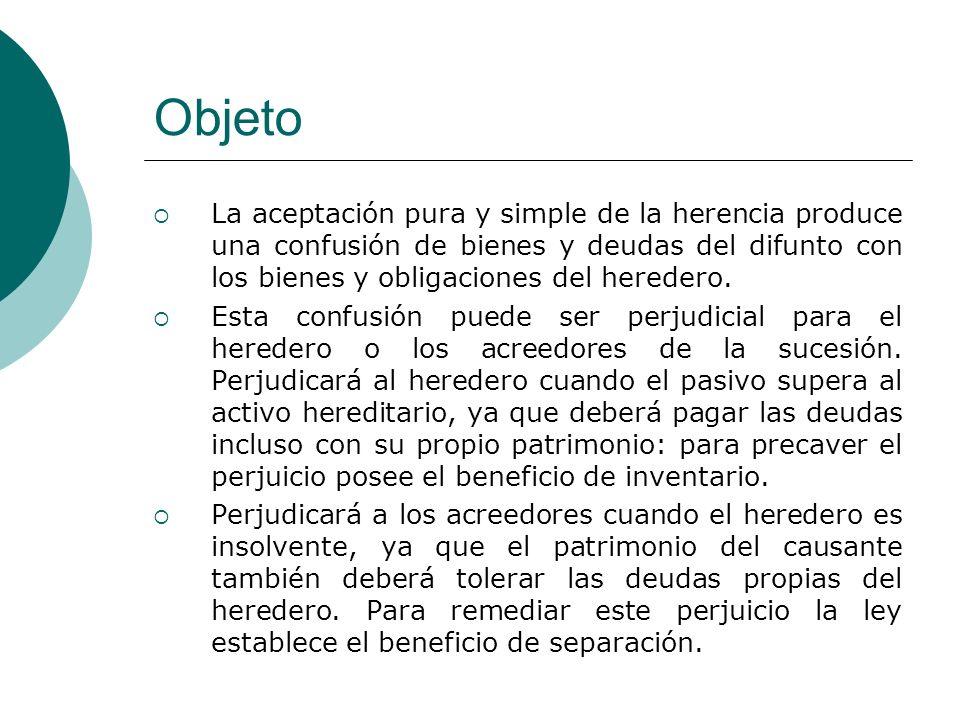 Objeto La aceptación pura y simple de la herencia produce una confusión de bienes y deudas del difunto con los bienes y obligaciones del heredero.