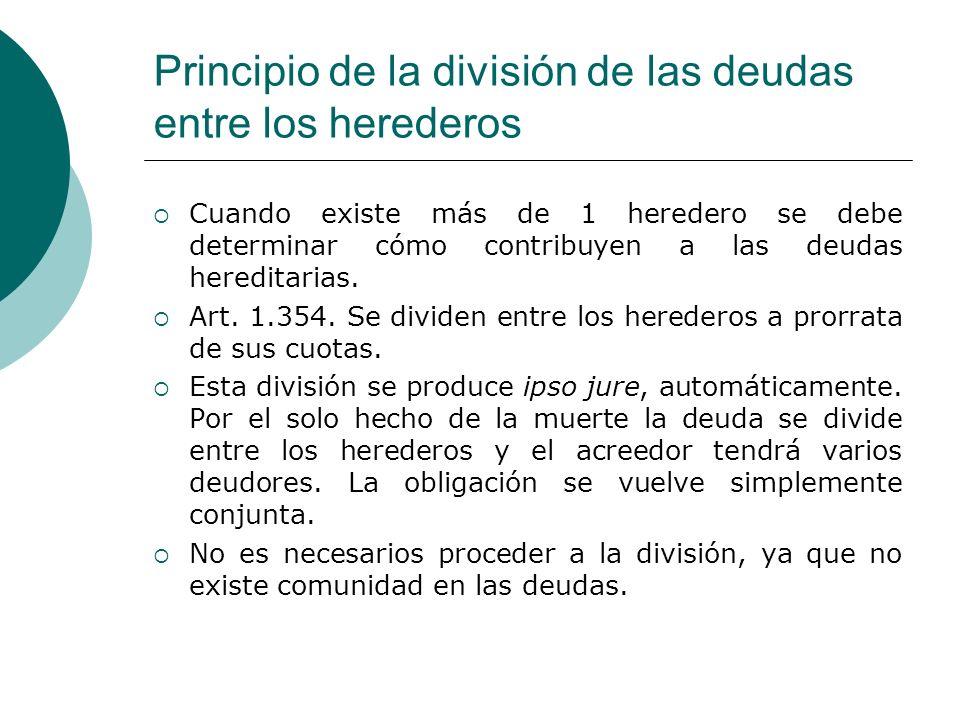 Principio de la división de las deudas entre los herederos