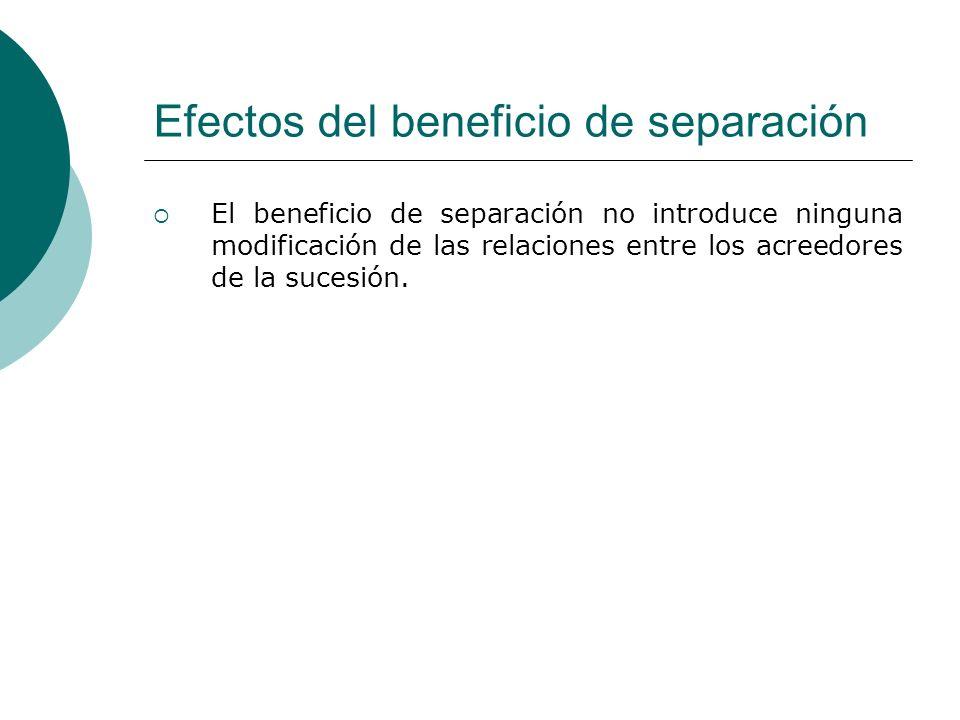 Efectos del beneficio de separación