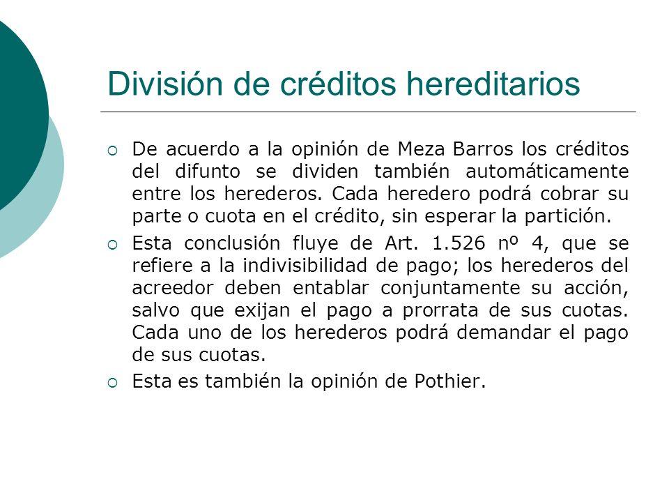 División de créditos hereditarios