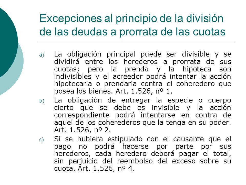 Excepciones al principio de la división de las deudas a prorrata de las cuotas