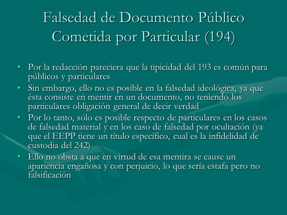 Falsedad de Documento Público Cometida por Particular (194)