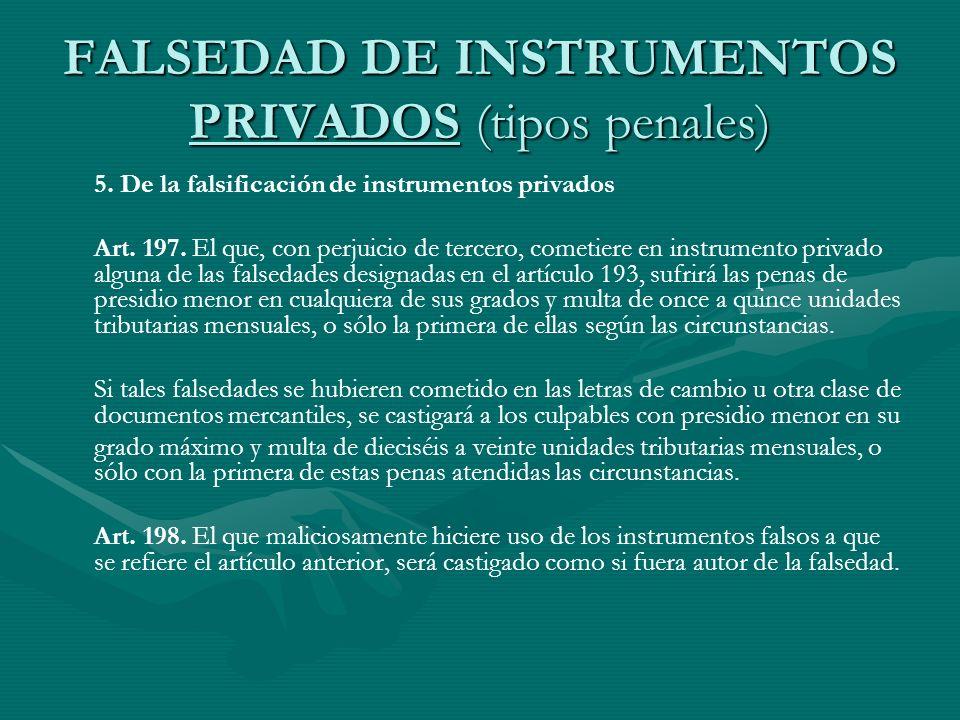 FALSEDAD DE INSTRUMENTOS PRIVADOS (tipos penales)