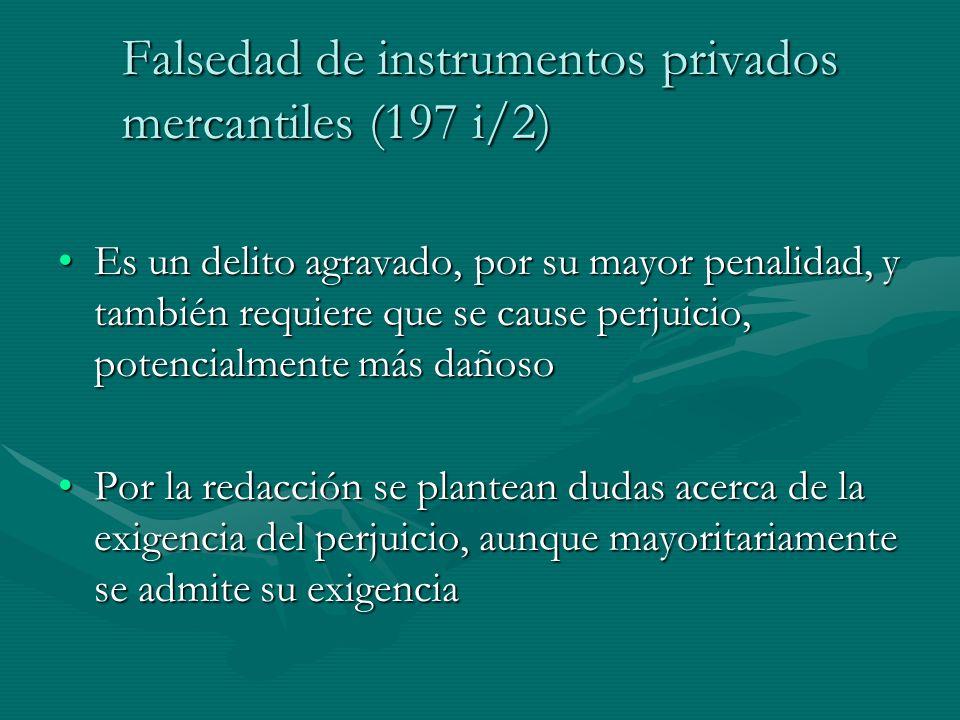 Falsedad de instrumentos privados mercantiles (197 i/2)