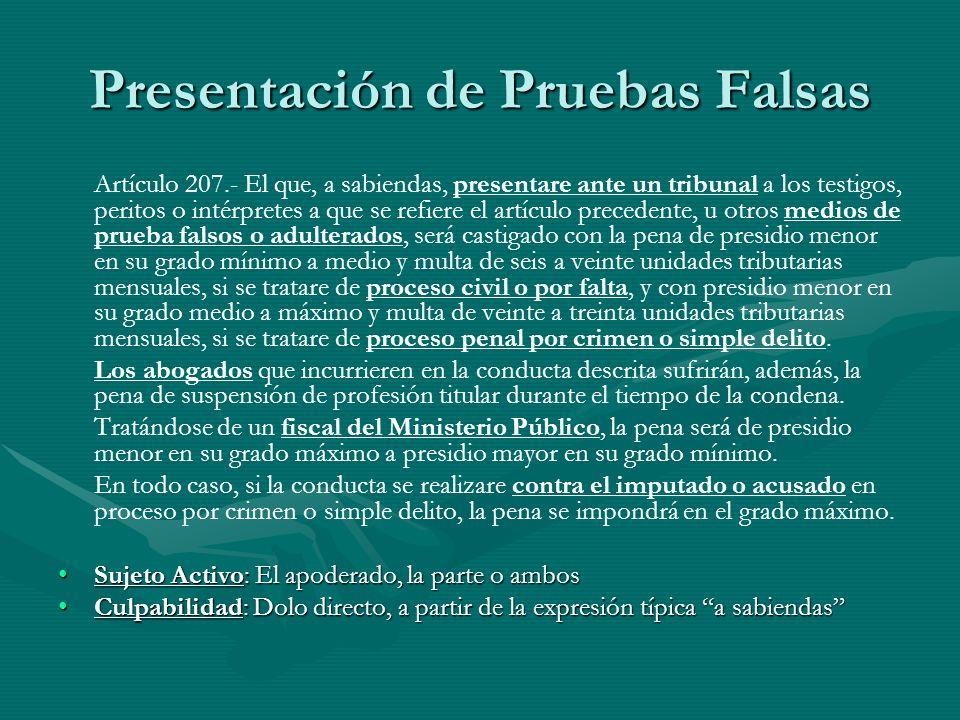 Presentación de Pruebas Falsas