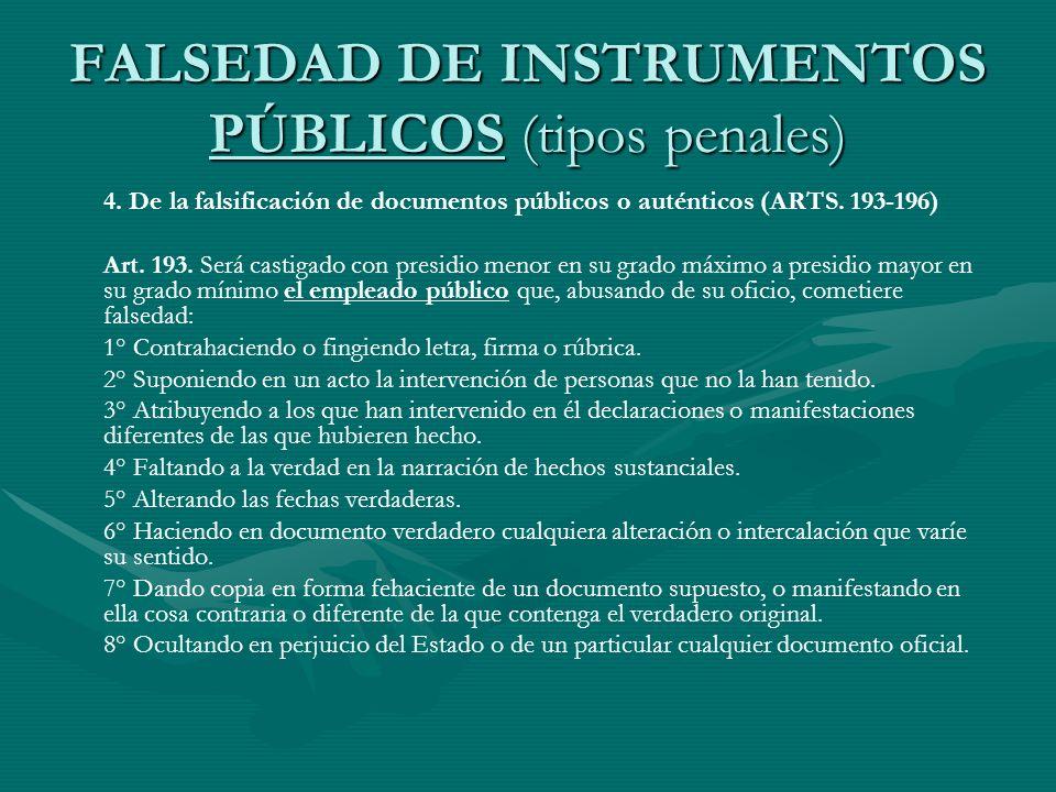 FALSEDAD DE INSTRUMENTOS PÚBLICOS (tipos penales)