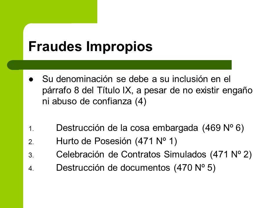 Fraudes Impropios Su denominación se debe a su inclusión en el párrafo 8 del Título IX, a pesar de no existir engaño ni abuso de confianza (4)