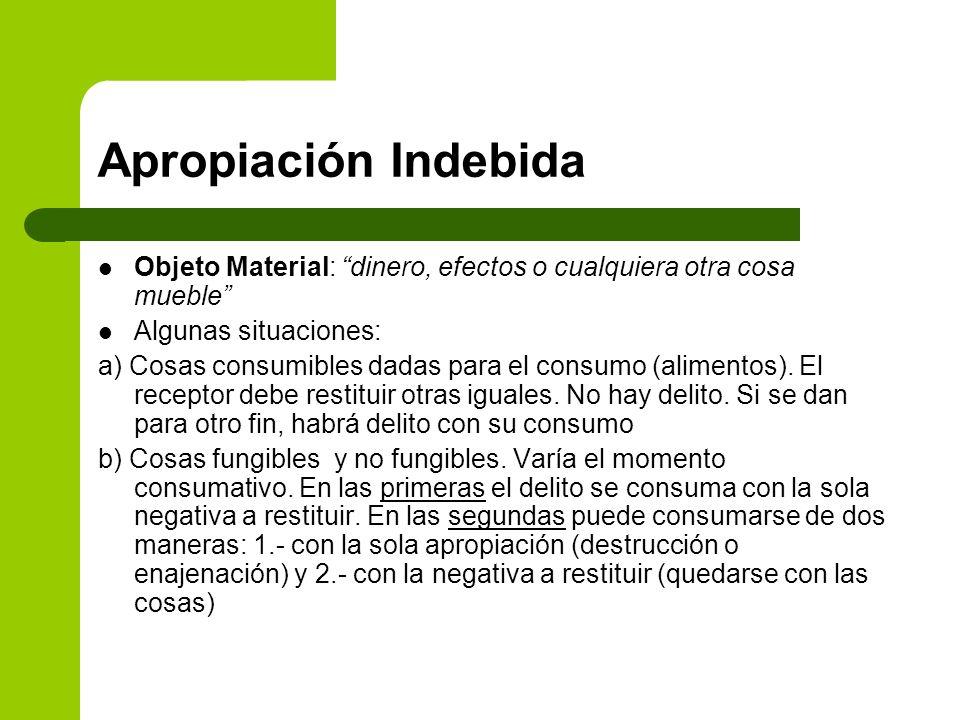 Apropiación IndebidaObjeto Material: dinero, efectos o cualquiera otra cosa mueble Algunas situaciones:
