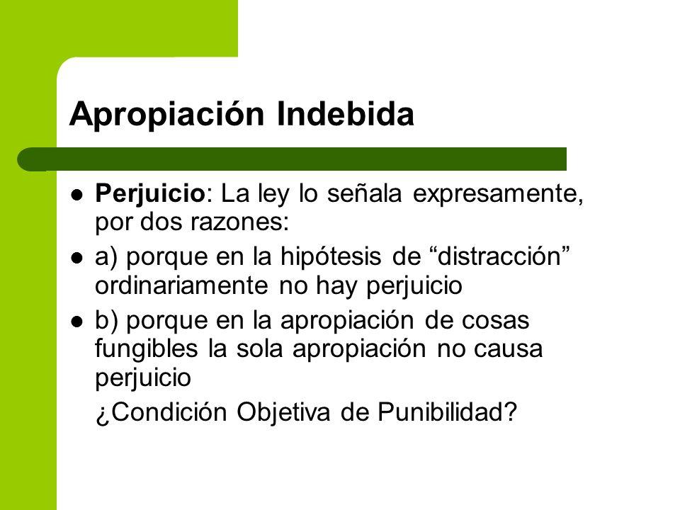 Apropiación IndebidaPerjuicio: La ley lo señala expresamente, por dos razones: