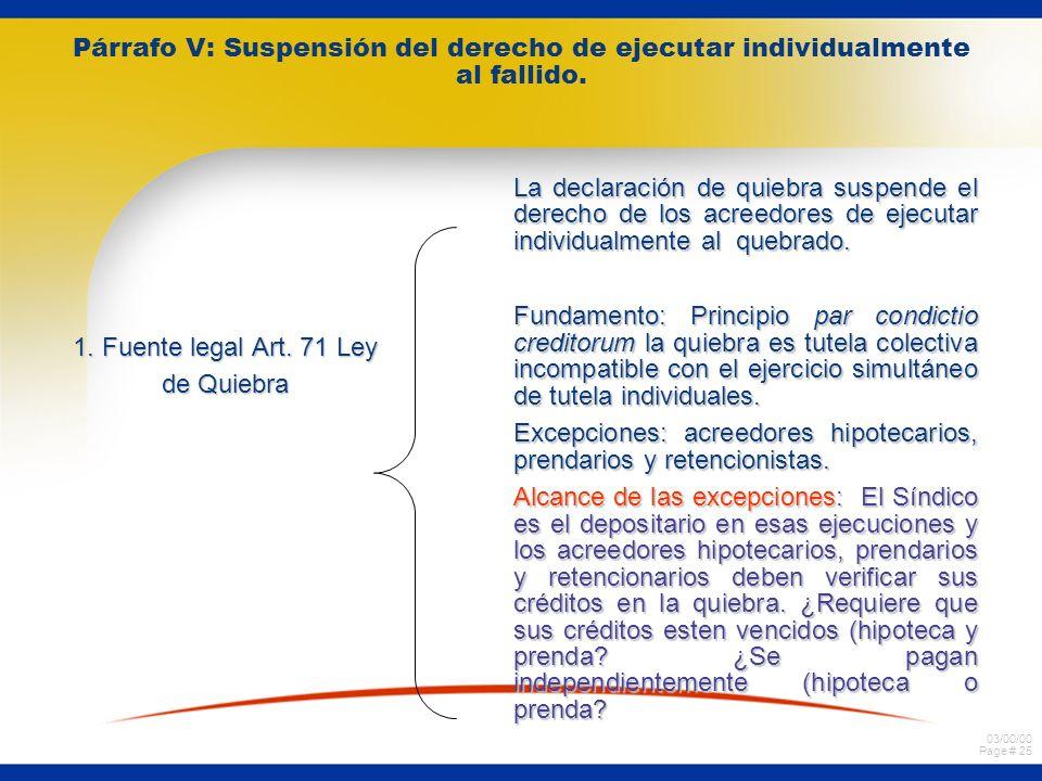 Párrafo V: Suspensión del derecho de ejecutar individualmente al fallido.