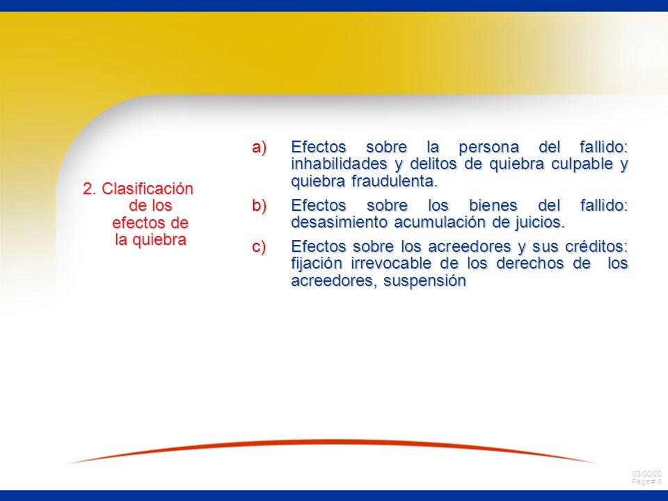 2. Clasificación de los efectos de la quiebra