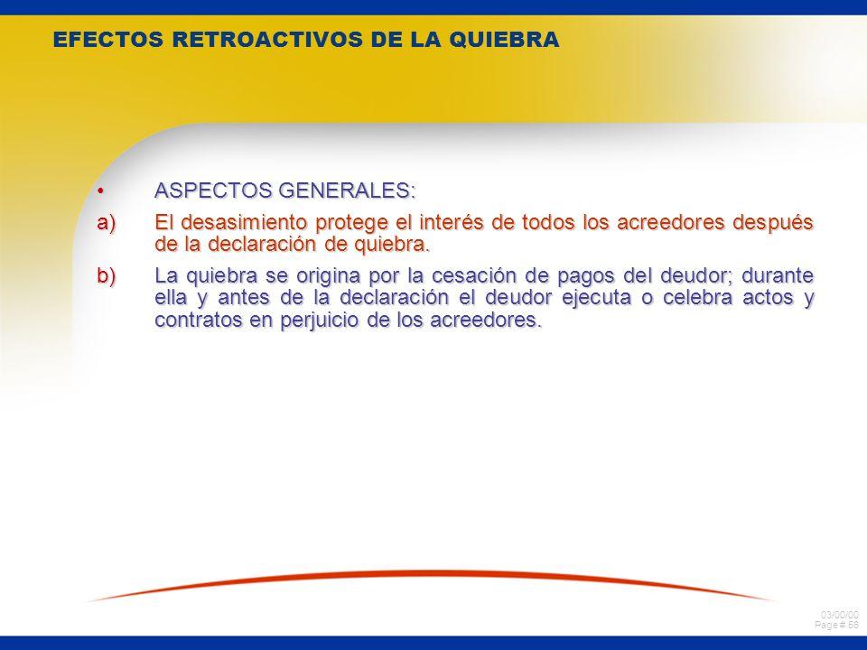 EFECTOS RETROACTIVOS DE LA QUIEBRA