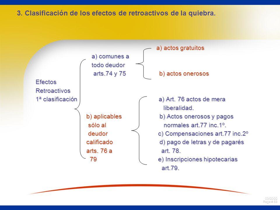 3. Clasificación de los efectos de retroactivos de la quiebra.