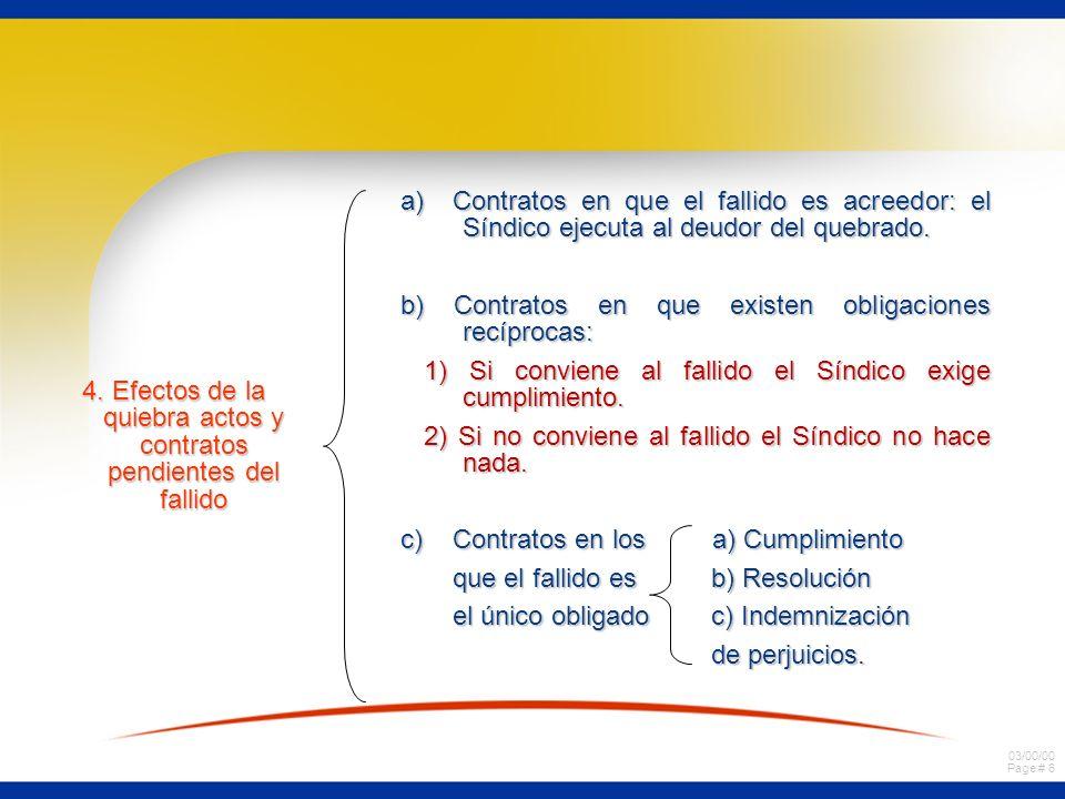 4. Efectos de la quiebra actos y contratos pendientes del fallido