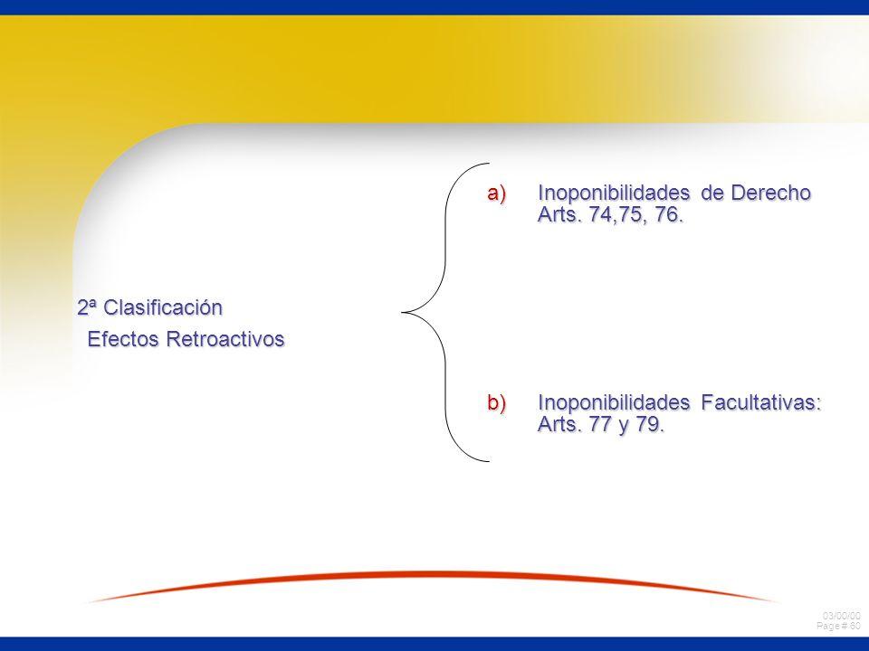 Inoponibilidades de Derecho Arts. 74,75, 76.