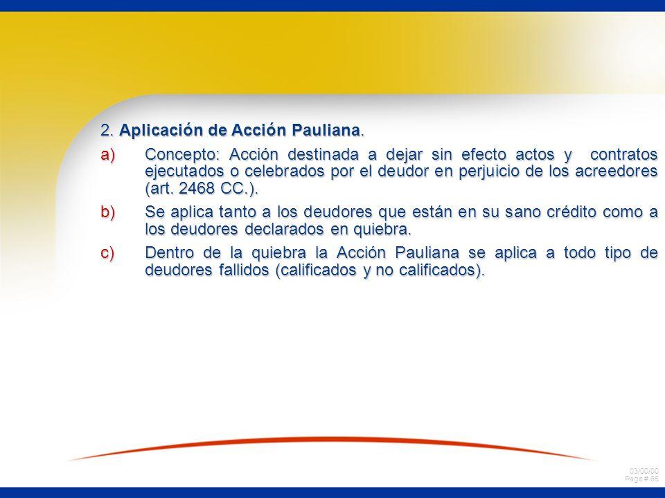 2. Aplicación de Acción Pauliana.