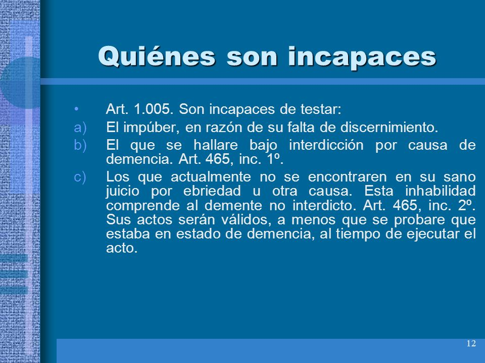 Quiénes son incapaces Art. 1.005. Son incapaces de testar: