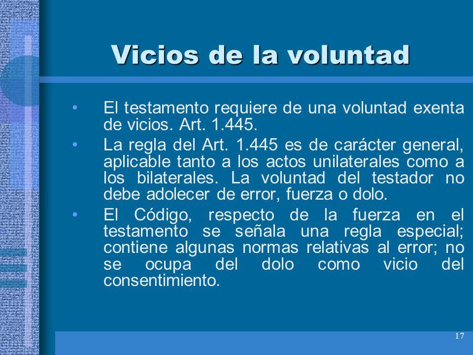 Vicios de la voluntad El testamento requiere de una voluntad exenta de vicios. Art. 1.445.