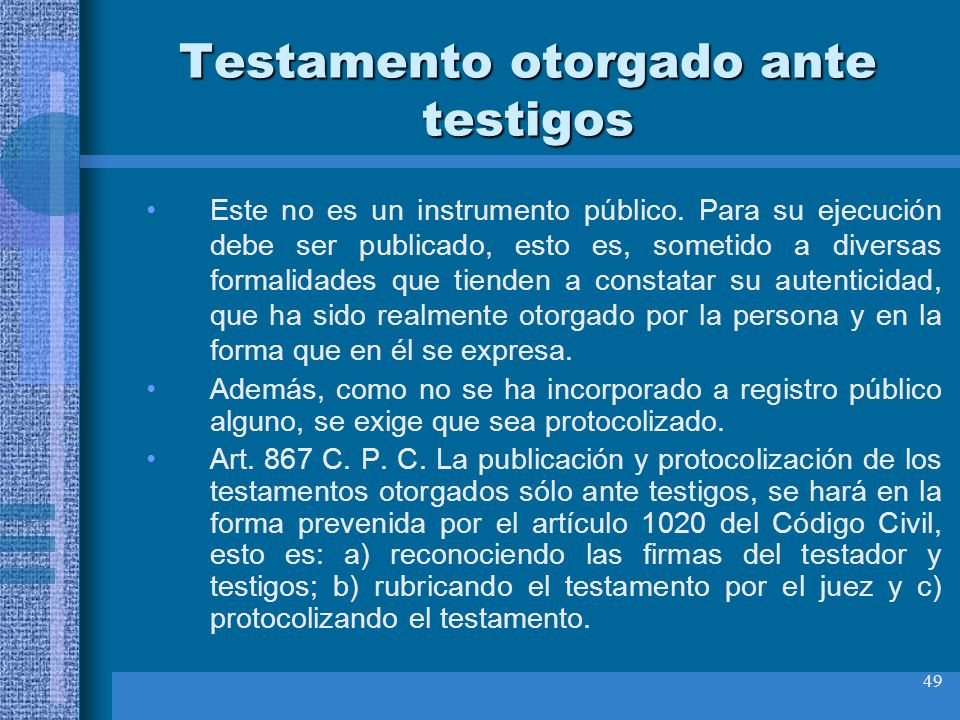 Testamento otorgado ante testigos
