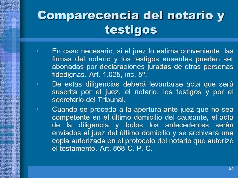Comparecencia del notario y testigos