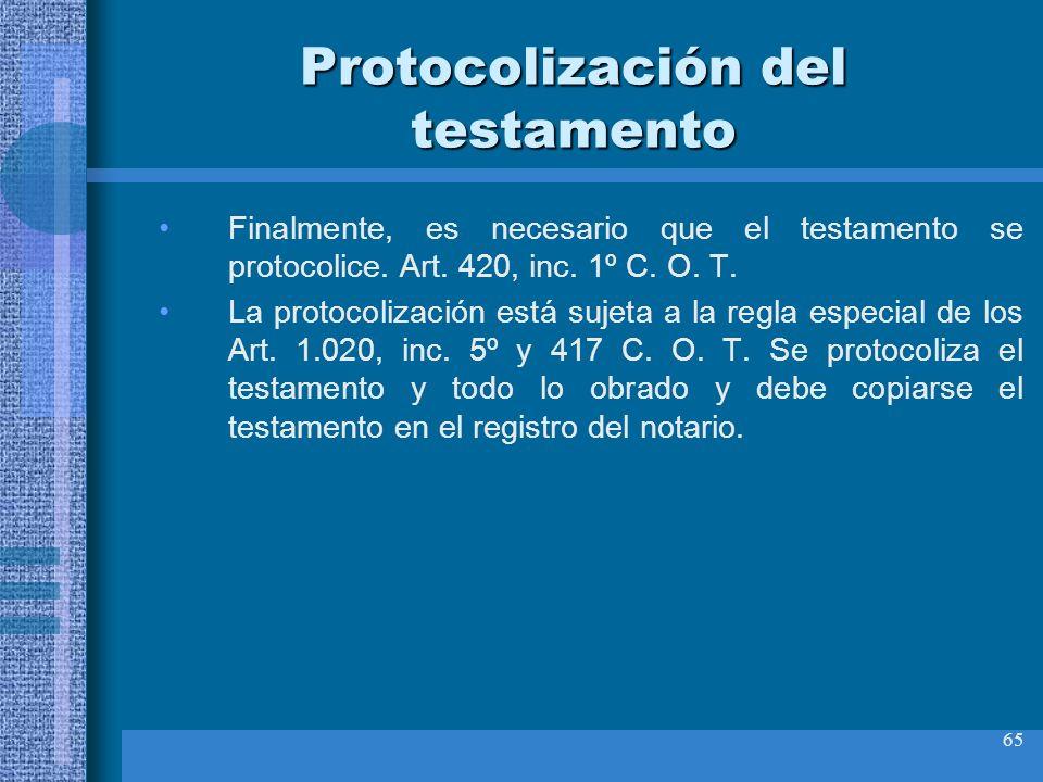 Protocolización del testamento