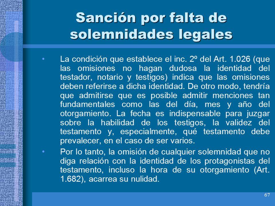 Sanción por falta de solemnidades legales