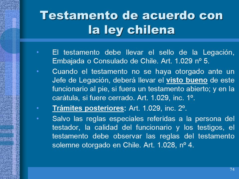 Testamento de acuerdo con la ley chilena