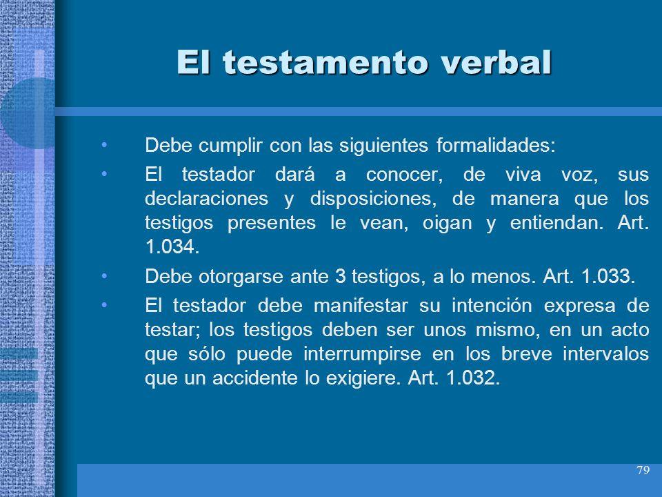El testamento verbal Debe cumplir con las siguientes formalidades:
