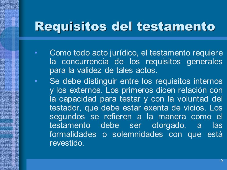 Requisitos del testamento