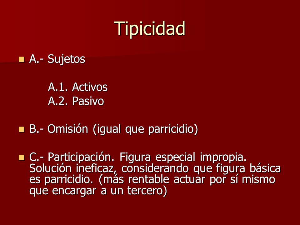 Tipicidad A.- Sujetos A.1. Activos A.2. Pasivo