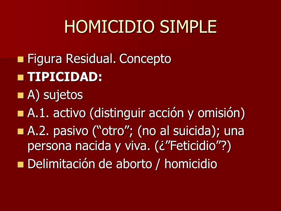 HOMICIDIO SIMPLE Figura Residual. Concepto TIPICIDAD: A) sujetos