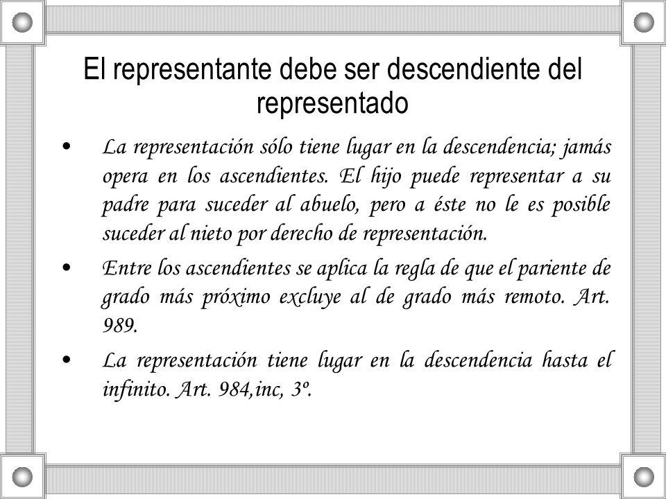 El representante debe ser descendiente del representado
