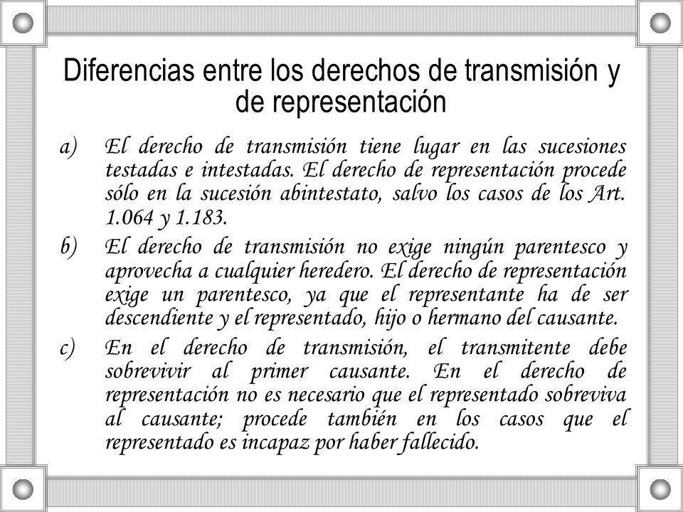 Diferencias entre los derechos de transmisión y de representación