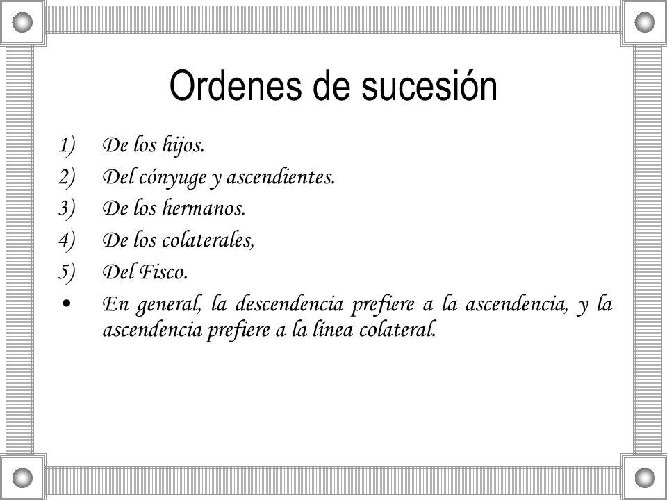 Ordenes de sucesión De los hijos. Del cónyuge y ascendientes.