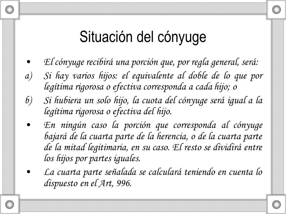 Situación del cónyuge El cónyuge recibirá una porción que, por regla general, será: