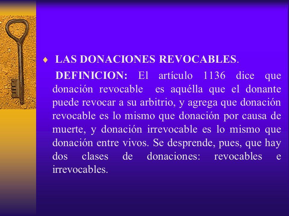 LAS DONACIONES REVOCABLES.