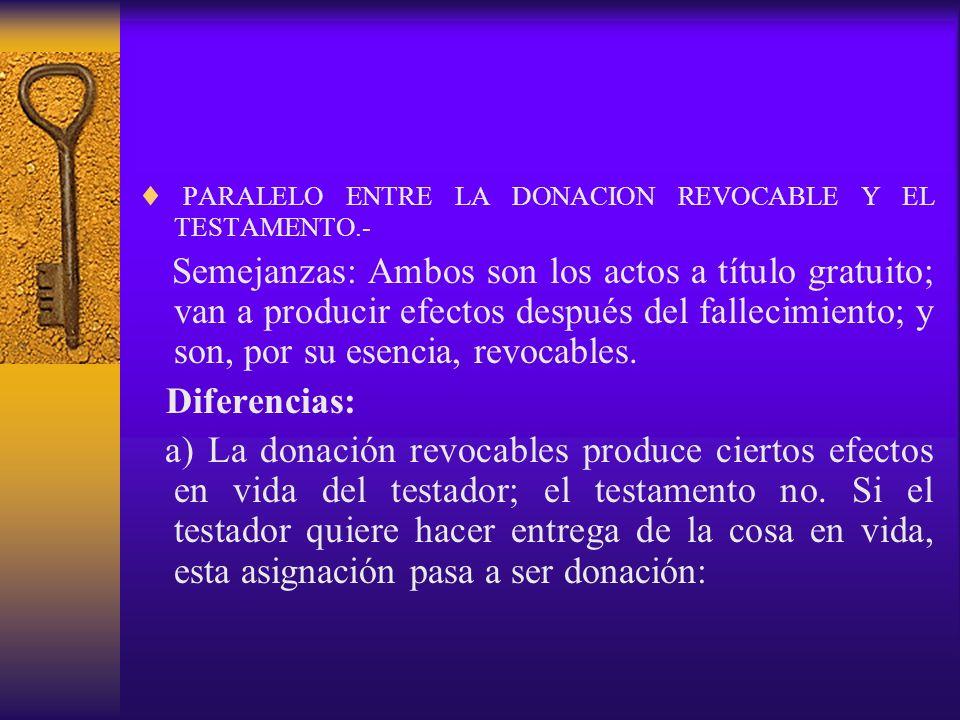 PARALELO ENTRE LA DONACION REVOCABLE Y EL TESTAMENTO.-