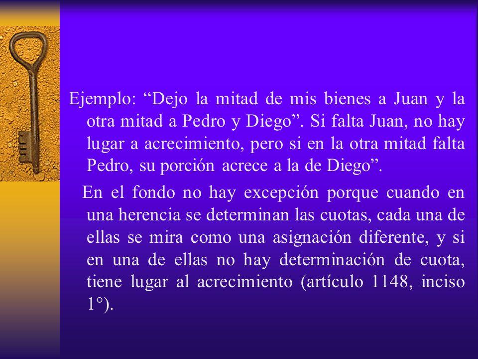 Ejemplo: Dejo la mitad de mis bienes a Juan y la otra mitad a Pedro y Diego . Si falta Juan, no hay lugar a acrecimiento, pero si en la otra mitad falta Pedro, su porción acrece a la de Diego .